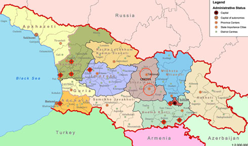 Conflicts Settlement For Abkhazia And South Ossetia GEORGIACOM - South ossetia map